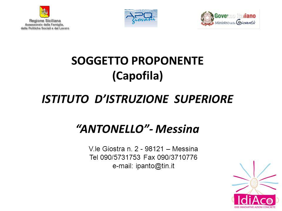 SOGGETTO PROPONENTE (Capofila) ISTITUTO DISTRUZIONE SUPERIORE ANTONELLO- Messina V.le Giostra n.