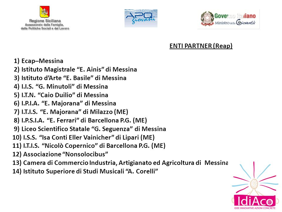 ENTI PARTNER (Reap) 1) Ecap–Messina 2) Istituto Magistrale E. Ainis di Messina 3) Istituto dArte E. Basile di Messina 4) I.I.S. G. Minutoli di Messina