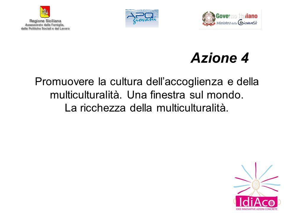 Azione 4 Promuovere la cultura dellaccoglienza e della multiculturalità.