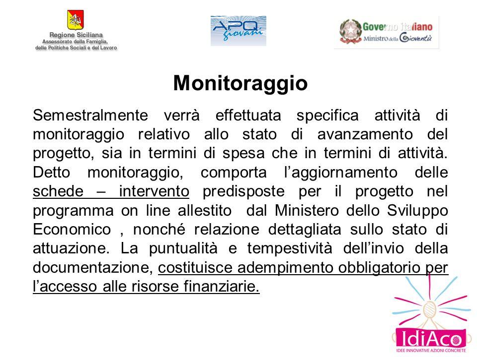 Monitoraggio Semestralmente verrà effettuata specifica attività di monitoraggio relativo allo stato di avanzamento del progetto, sia in termini di spesa che in termini di attività.