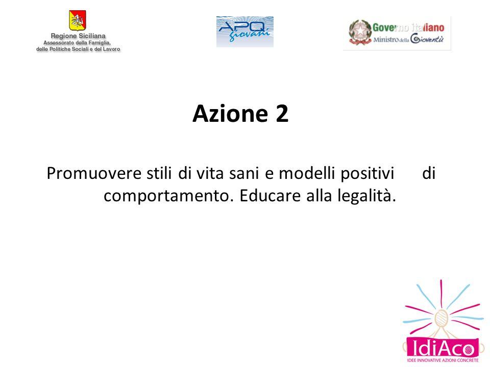 Azione 2 Promuovere stili di vita sani e modelli positivi di comportamento. Educare alla legalità.