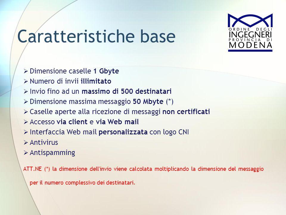 Caratteristiche base Dimensione caselle 1 Gbyte Numero di invii illimitato Invio fino ad un massimo di 500 destinatari Dimensione massima messaggio 50