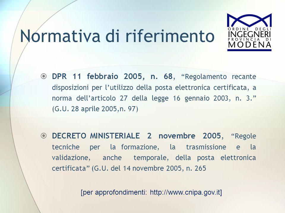 Normativa di riferimento DPR 11 febbraio 2005, n. 68, Regolamento recante disposizioni per lutilizzo della posta elettronica certificata, a norma dell