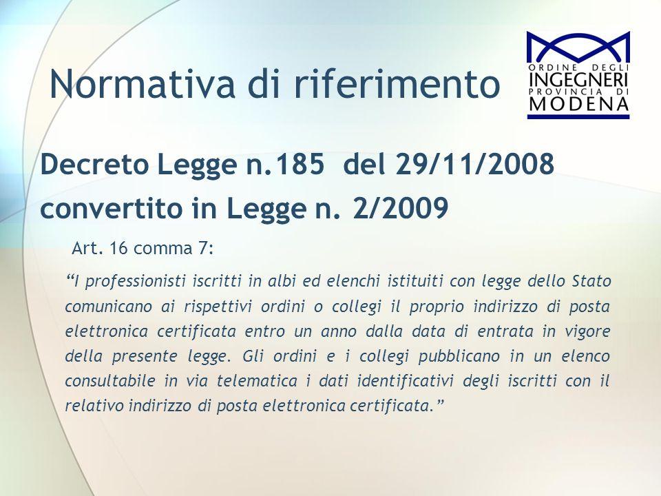 Normativa di riferimento Decreto Legge n.185 del 29/11/2008 convertito in Legge n. 2/2009 Art. 16 comma 7: I professionisti iscritti in albi ed elench