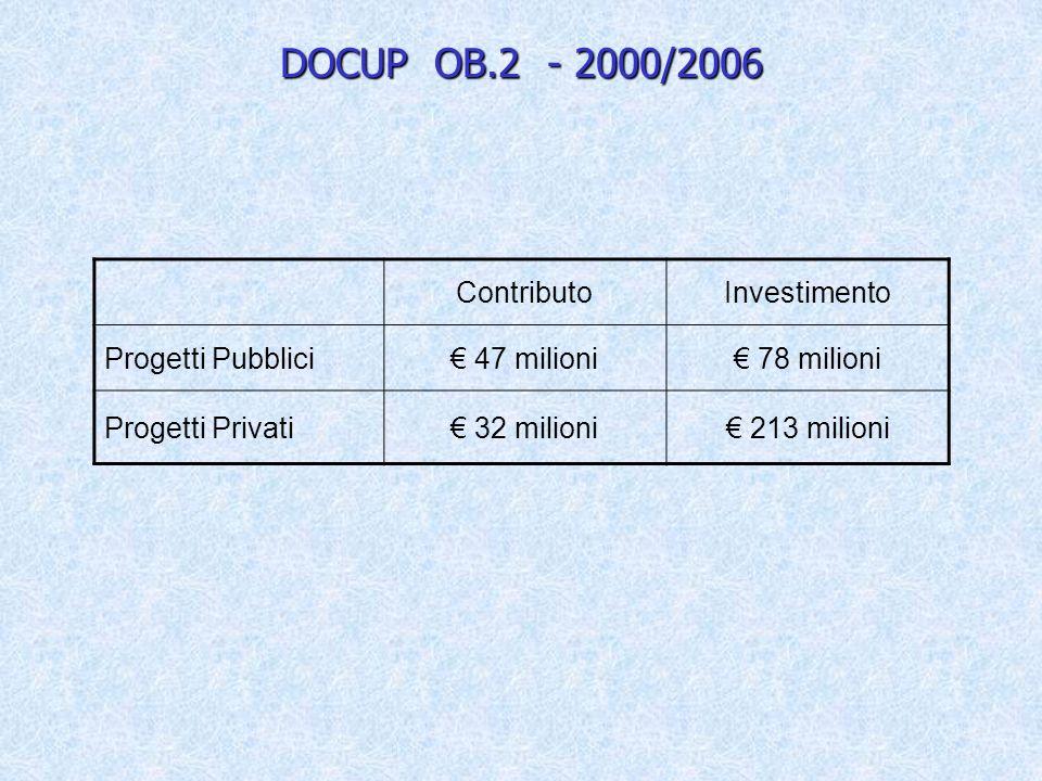 DOCUP OB.2 - 2000/2006 ContributoInvestimento Progetti Pubblici 47 milioni 78 milioni Progetti Privati 32 milioni 213 milioni