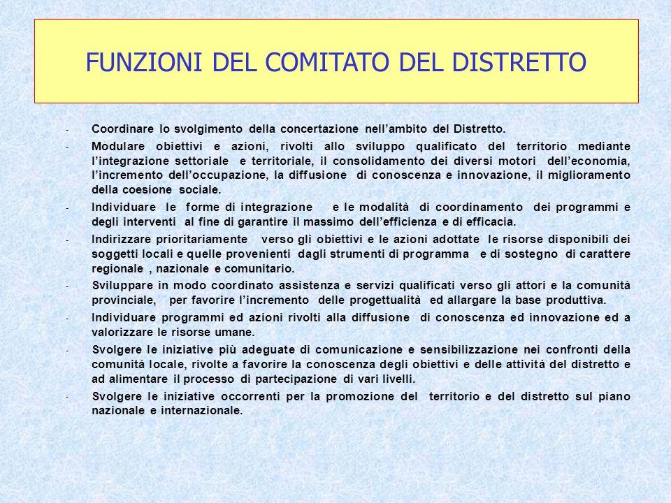 - Coordinare lo svolgimento della concertazione nellambito del Distretto.