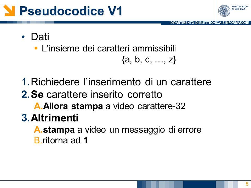 DIPARTIMENTO DI ELETTRONICA E INFORMAZIONE Pseudocodice V1 Dati Linsieme dei caratteri ammissibili {a, b, c, …, z} 1.Richiedere linserimento di un car