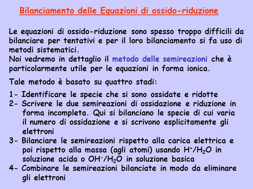 Tale metodo è basato su quattro stadi: 1- Identificare le specie che si sono ossidate e ridotte 2- Scrivere le due semireazioni di ossidazione e riduz