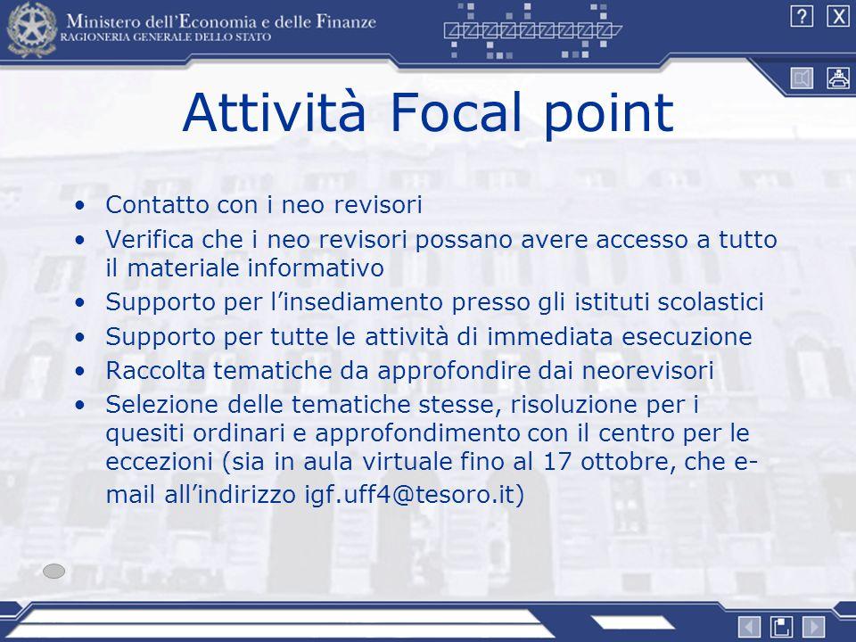 Attività Focal point Contatto con i neo revisori Verifica che i neo revisori possano avere accesso a tutto il materiale informativo Supporto per linse