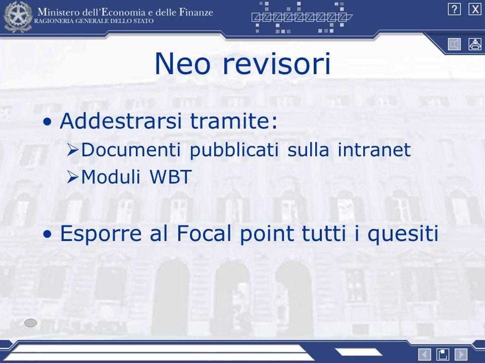 Neo revisori Addestrarsi tramite: Documenti pubblicati sulla intranet Moduli WBT Esporre al Focal point tutti i quesiti
