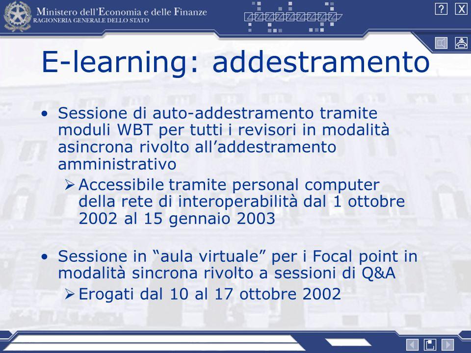 E-learning: addestramento Sessione di auto-addestramento tramite moduli WBT per tutti i revisori in modalità asincrona rivolto alladdestramento ammini