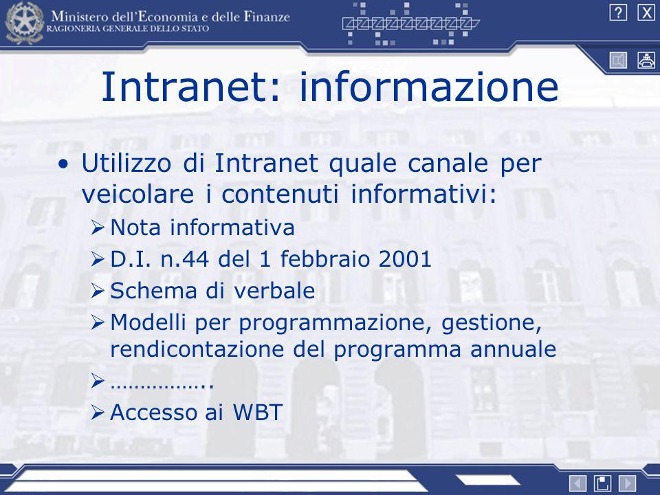 Intranet: informazione Utilizzo di Intranet quale canale per veicolare i contenuti informativi: Nota informativa D.I. n.44 del 1 febbraio 2001 Schema