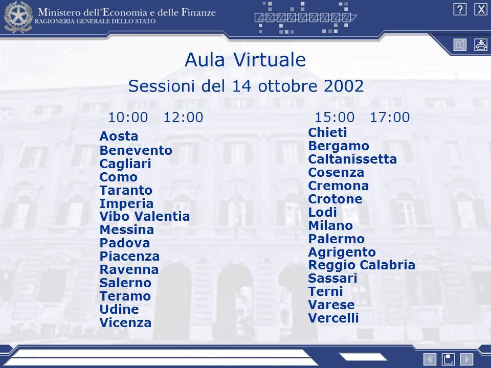 Aula Virtuale 15:00 17:00 Chieti Bergamo Caltanissetta Cosenza Cremona Crotone Lodi Milano Palermo Agrigento Reggio Calabria Sassari Terni Varese Verc