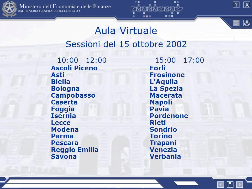 Aula Virtuale 15:00 17:00 Forlì Frosinone LAquila La Spezia Macerata Napoli Pavia Pordenone Rieti Sondrio Torino Trapani Venezia Verbania 10:00 12:00