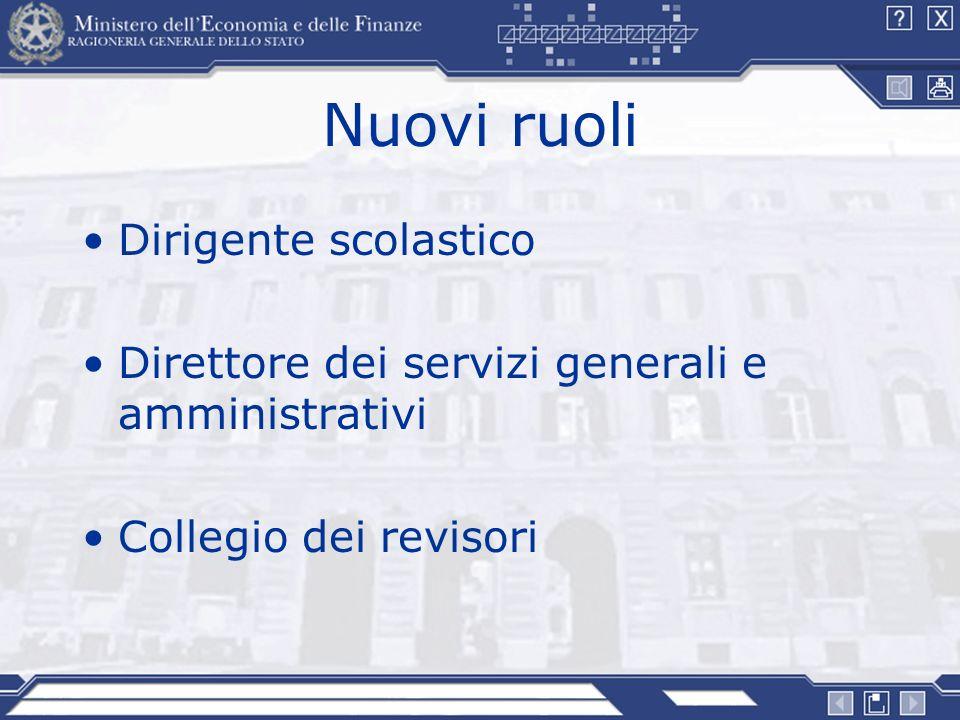 Nuovi ruoli Dirigente scolastico Direttore dei servizi generali e amministrativi Collegio dei revisori