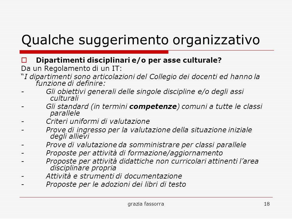 grazia fassorra18 Qualche suggerimento organizzativo Dipartimenti disciplinari e/o per asse culturale? Da un Regolamento di un IT: I dipartimenti sono