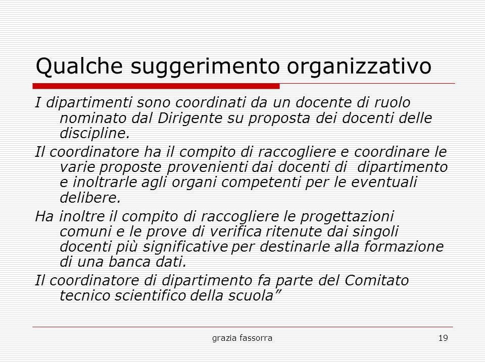 grazia fassorra19 Qualche suggerimento organizzativo I dipartimenti sono coordinati da un docente di ruolo nominato dal Dirigente su proposta dei doce