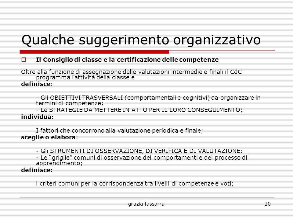 grazia fassorra20 Qualche suggerimento organizzativo Il Consiglio di classe e la certificazione delle competenze Oltre alla funzione di assegnazione d