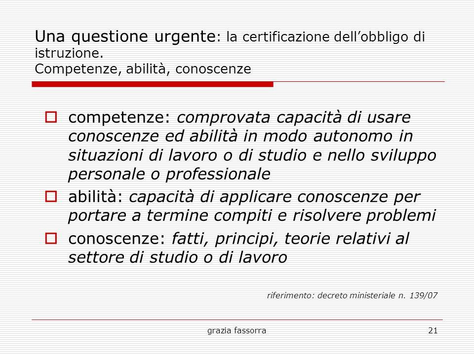 grazia fassorra21 Una questione urgente : la certificazione dellobbligo di istruzione. Competenze, abilità, conoscenze competenze: comprovata capacità