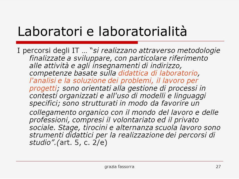 grazia fassorra27 Laboratori e laboratorialità I percorsi degli IT … si realizzano attraverso metodologie finalizzate a sviluppare, con particolare ri