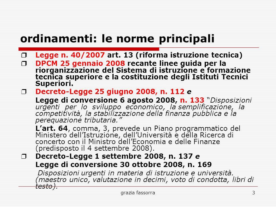 grazia fassorra3 ordinamenti: le norme principali Legge n. 40/2007 art. 13 (riforma istruzione tecnica) DPCM 25 gennaio 2008 recante linee guida per l
