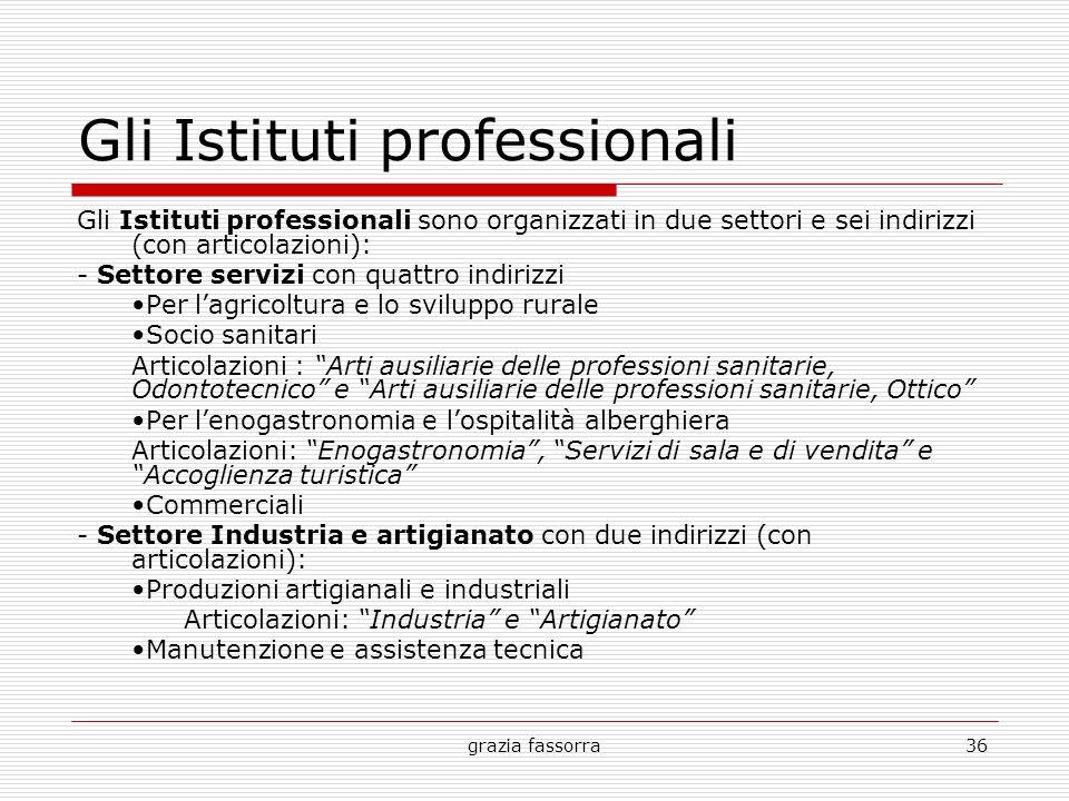 grazia fassorra36 Gli Istituti professionali Gli Istituti professionali sono organizzati in due settori e sei indirizzi (con articolazioni): - Settore