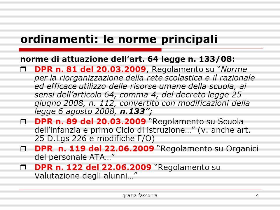 grazia fassorra4 ordinamenti: le norme principali norme di attuazione dellart. 64 legge n. 133/08: DPR n. 81 del 20.03.2009, Regolamento su Norme per