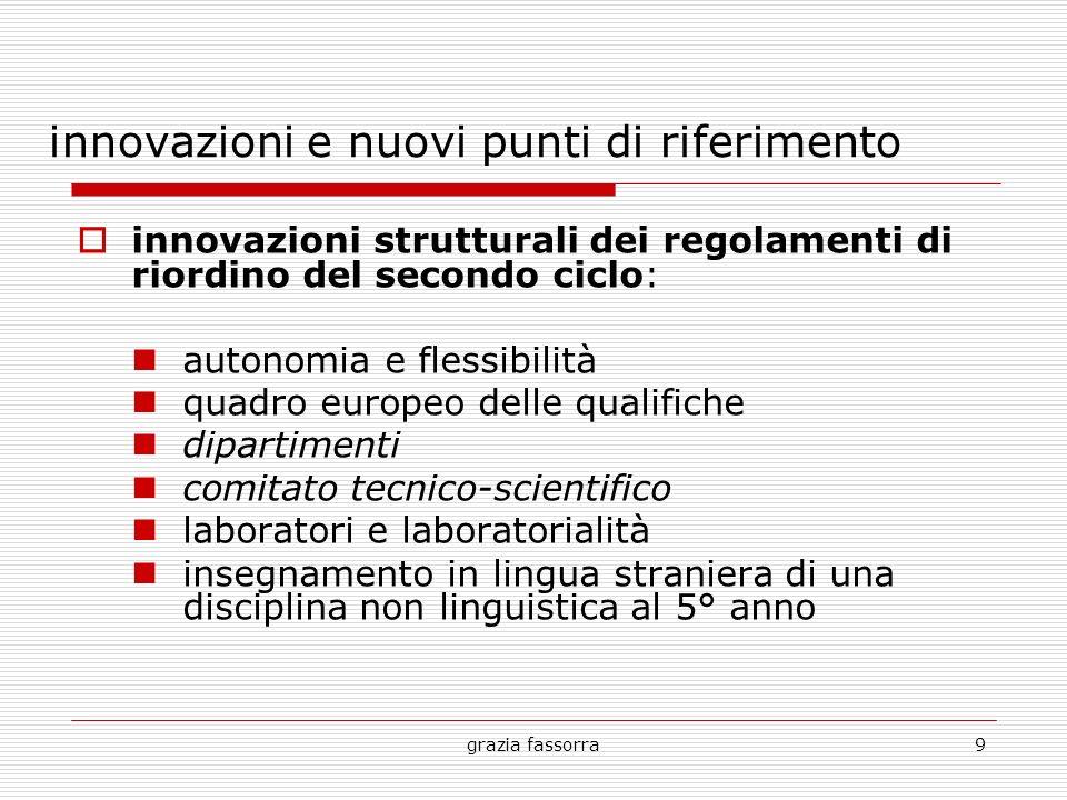 grazia fassorra9 innovazioni e nuovi punti di riferimento innovazioni strutturali dei regolamenti di riordino del secondo ciclo: autonomia e flessibil