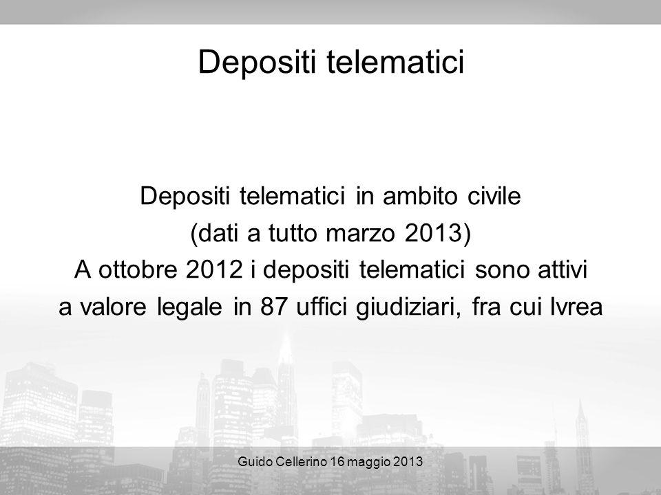Guido Cellerino 16 maggio 2013 Depositi telematici Depositi telematici in ambito civile (dati a tutto marzo 2013) A ottobre 2012 i depositi telematici