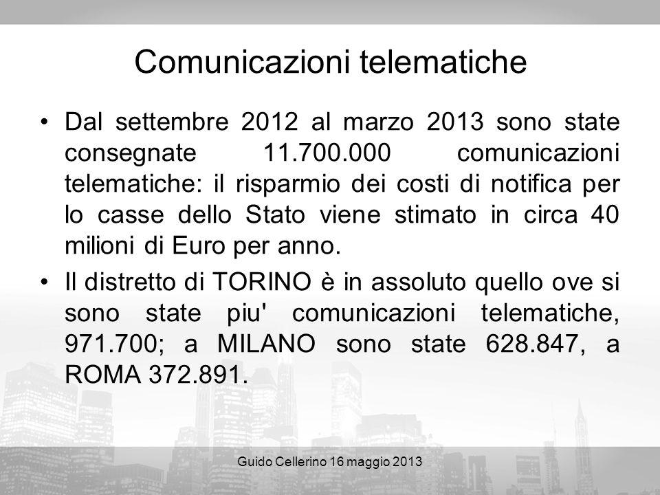 Guido Cellerino 16 maggio 2013 Comunicazioni telematiche Dal settembre 2012 al marzo 2013 sono state consegnate 11.700.000 comunicazioni telematiche: