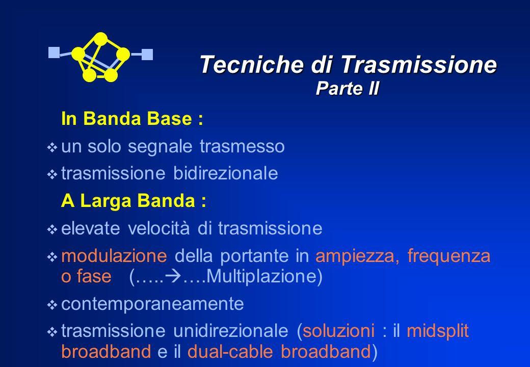 Tecniche di Trasmissione Parte II In Banda Base : un solo segnale trasmesso trasmissione bidirezionale A Larga Banda : elevate velocità di trasmission