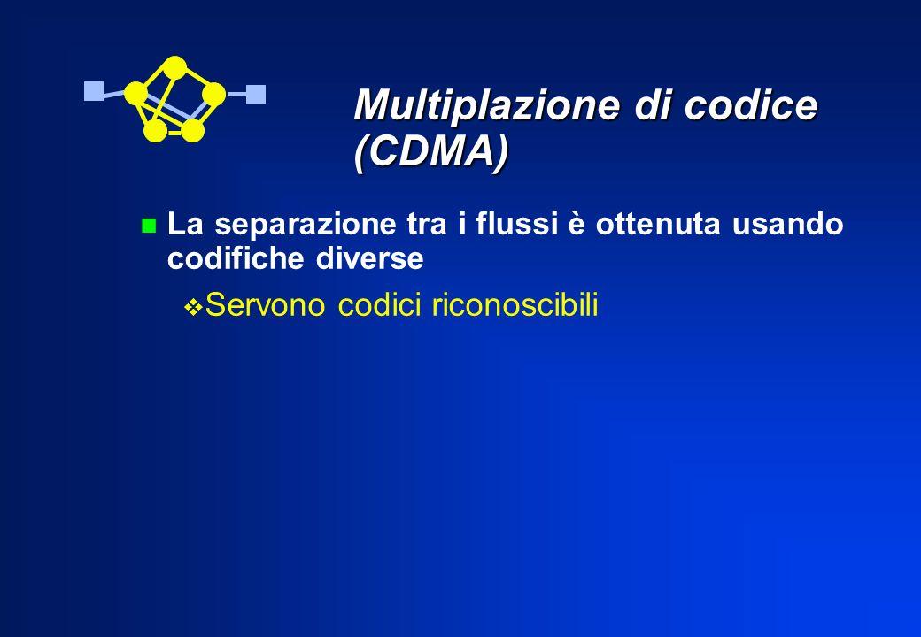 Multiplazione di codice (CDMA) n La separazione tra i flussi è ottenuta usando codifiche diverse Servono codici riconoscibili