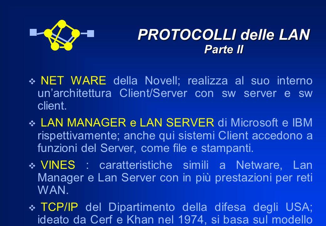 PROTOCOLLI delle LAN Parte II NET WARE della Novell; realizza al suo interno unarchitettura Client/Server con sw server e sw client. LAN MANAGER e LAN
