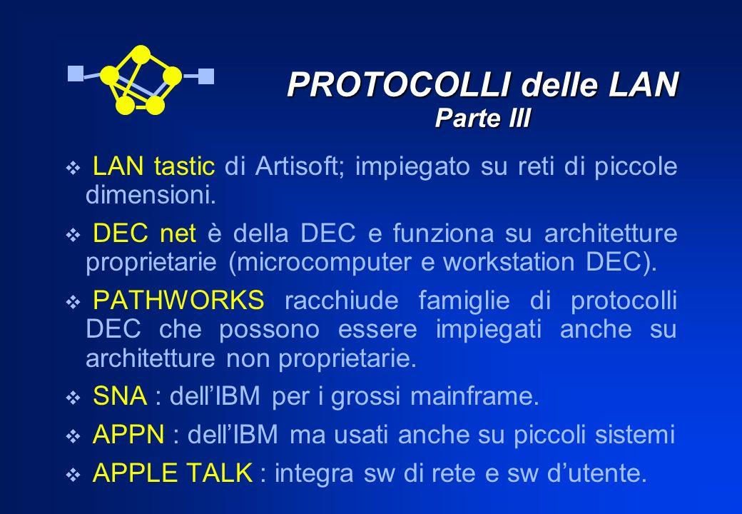 PROTOCOLLI delle LAN Parte III LAN tastic di Artisoft; impiegato su reti di piccole dimensioni. DEC net è della DEC e funziona su architetture proprie