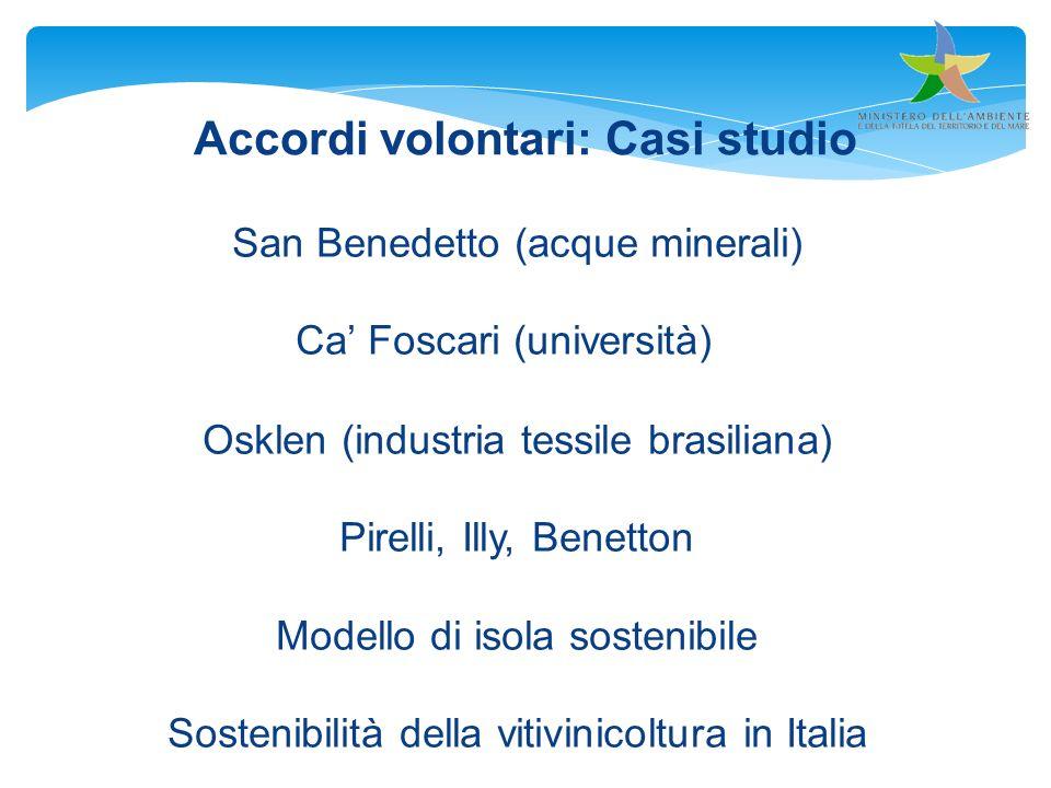 San Benedetto (acque minerali) Ca Foscari (università) Osklen (industria tessile brasiliana) Pirelli, Illy, Benetton Modello di isola sostenibile Sost