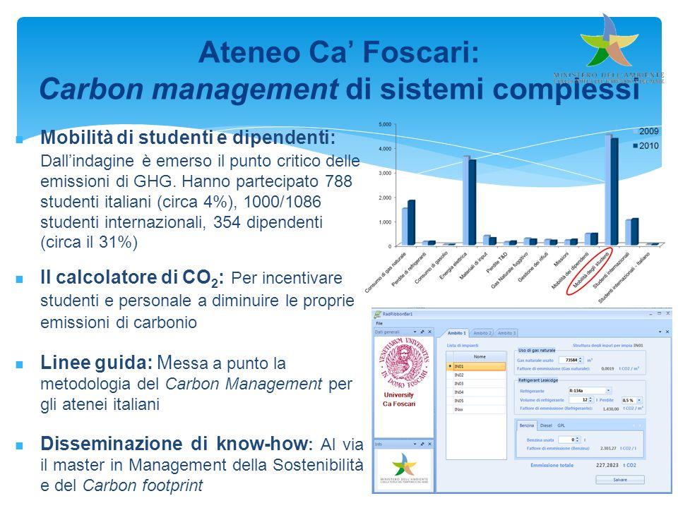 Ateneo Ca Foscari: Carbon management di sistemi complessi Mobilità di studenti e dipendenti: Dallindagine è emerso il punto critico delle emissioni di