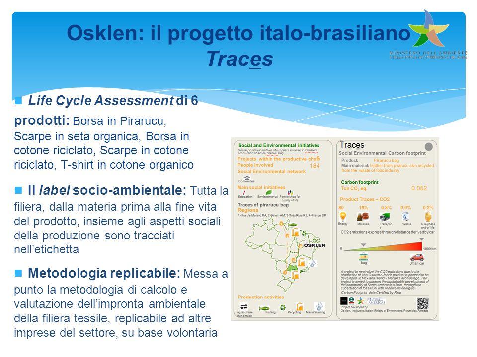 Osklen: il progetto italo-brasiliano Traces Metodologia replicabile: Messa a punto la metodologia di calcolo e valutazione dellimpronta ambientale del