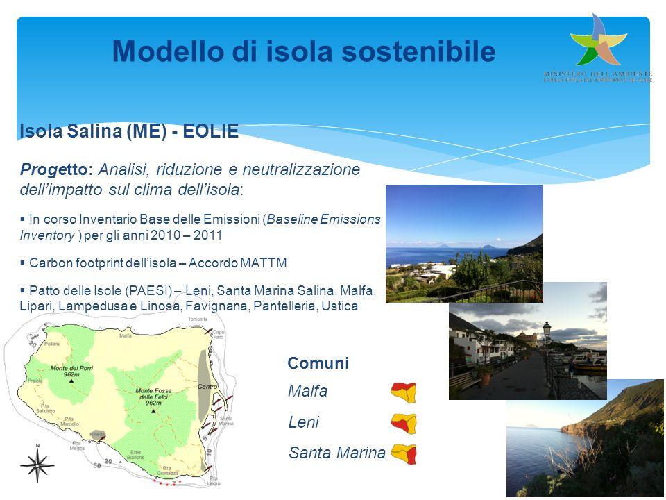 Modello di isola sostenibile Isola Salina (ME) - EOLIE Progetto: Analisi, riduzione e neutralizzazione dellimpatto sul clima dellisola: In corso Inven