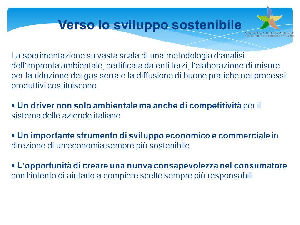 Verso lo sviluppo sostenibile La sperimentazione su vasta scala di una metodologia danalisi dellimpronta ambientale, certificata da enti terzi, lelabo