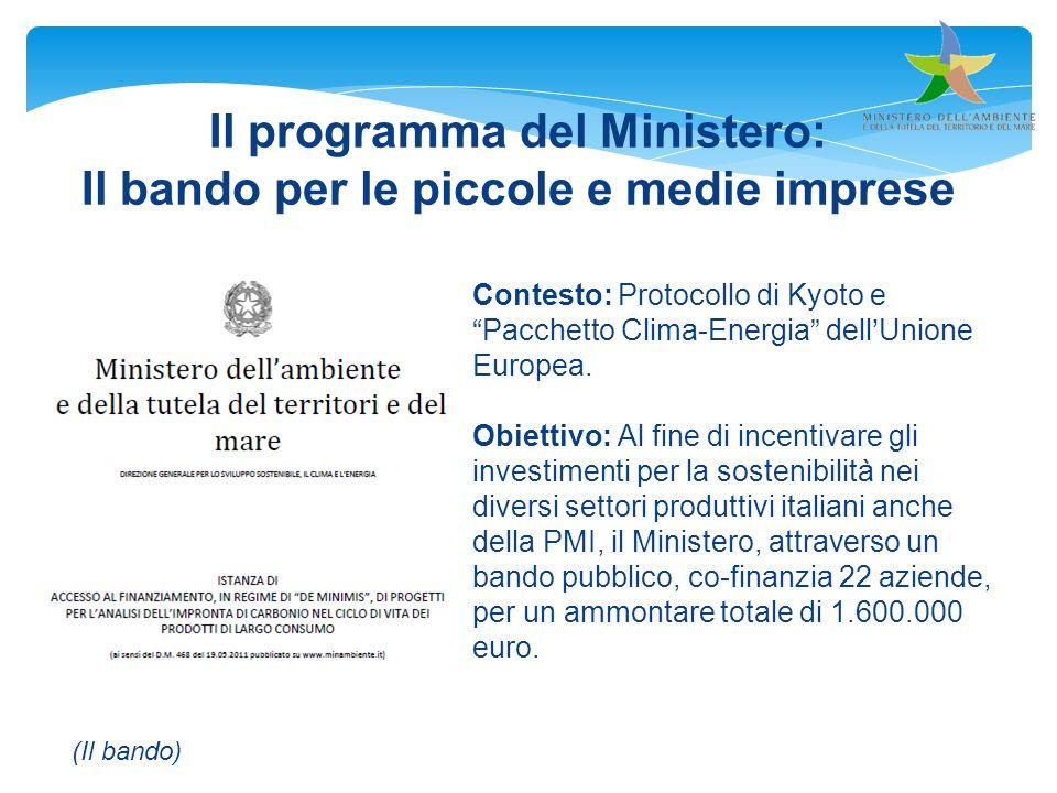 Il programma del Ministero: Il bando per le piccole e medie imprese Contesto: Protocollo di Kyoto ePacchetto Clima-Energia dellUnione Europea. Obietti