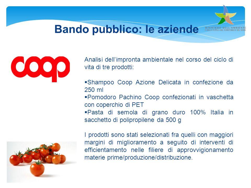 Bando pubblico: le aziende Analisi dellimpronta ambientale nel corso del ciclo di vita di tre prodotti: Shampoo Coop Azione Delicata in confezione da