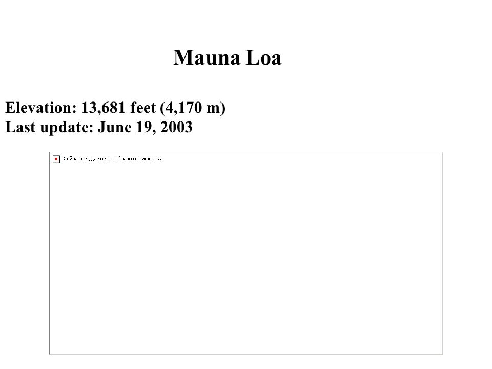 Elevation: 13,681 feet (4,170 m) Last update: June 19, 2003 Mauna Loa