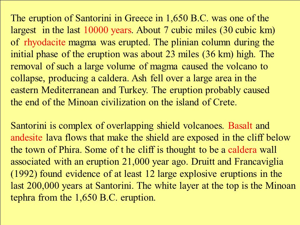 The eruption of Santorini in Greece in 1,650 B.C. was one of the largest in the last 10000 years. About 7 cubic miles (30 cubic km) of rhyodacite magm