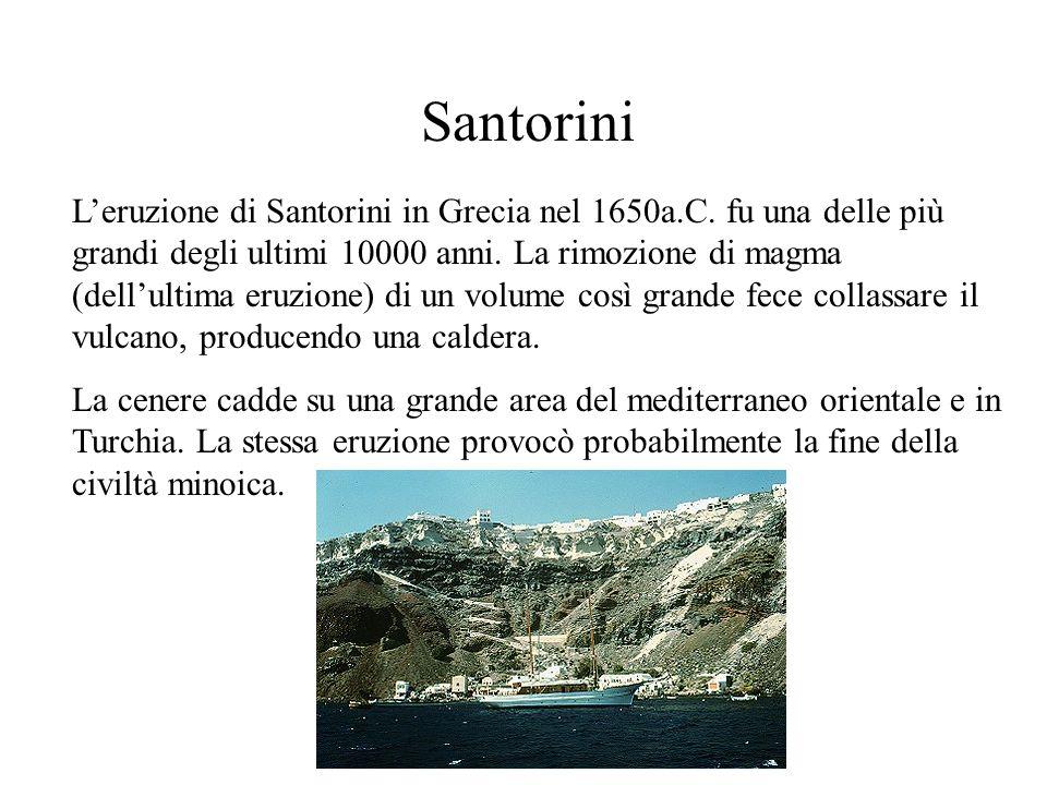 Santorini Leruzione di Santorini in Grecia nel 1650a.C. fu una delle più grandi degli ultimi 10000 anni. La rimozione di magma (dellultima eruzione) d