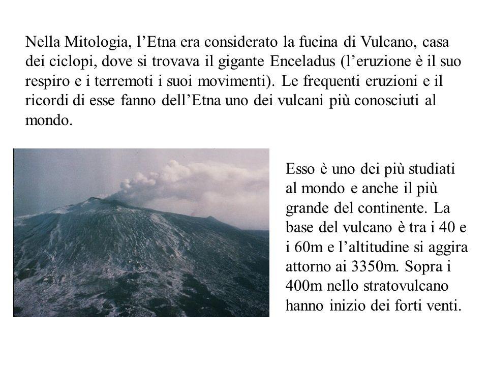 Nella Mitologia, lEtna era considerato la fucina di Vulcano, casa dei ciclopi, dove si trovava il gigante Enceladus (leruzione è il suo respiro e i te
