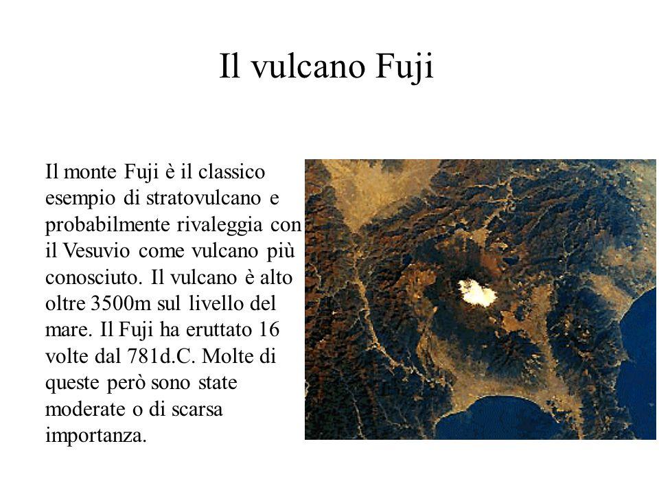 Il vulcano Fuji Il monte Fuji è il classico esempio di stratovulcano e probabilmente rivaleggia con il Vesuvio come vulcano più conosciuto. Il vulcano