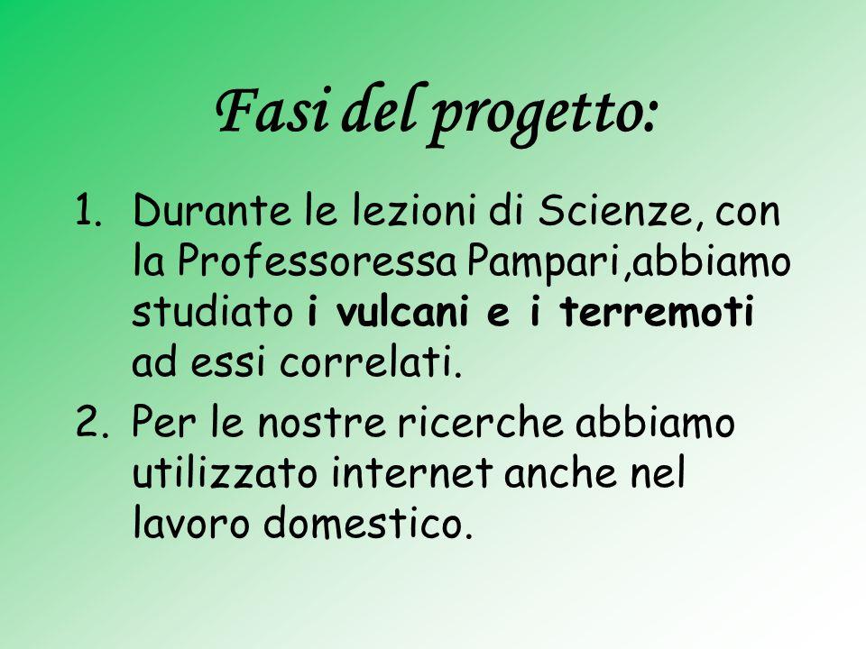 Fasi del progetto: 1.Durante le lezioni di Scienze, con la Professoressa Pampari,abbiamo studiato i vulcani e i terremoti ad essi correlati. 2.Per le