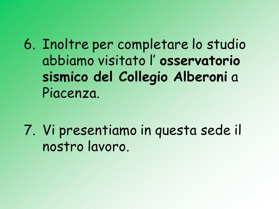 6.Inoltre per completare lo studio abbiamo visitato l osservatorio sismico del Collegio Alberoni a Piacenza. 7.Vi presentiamo in questa sede il nostro