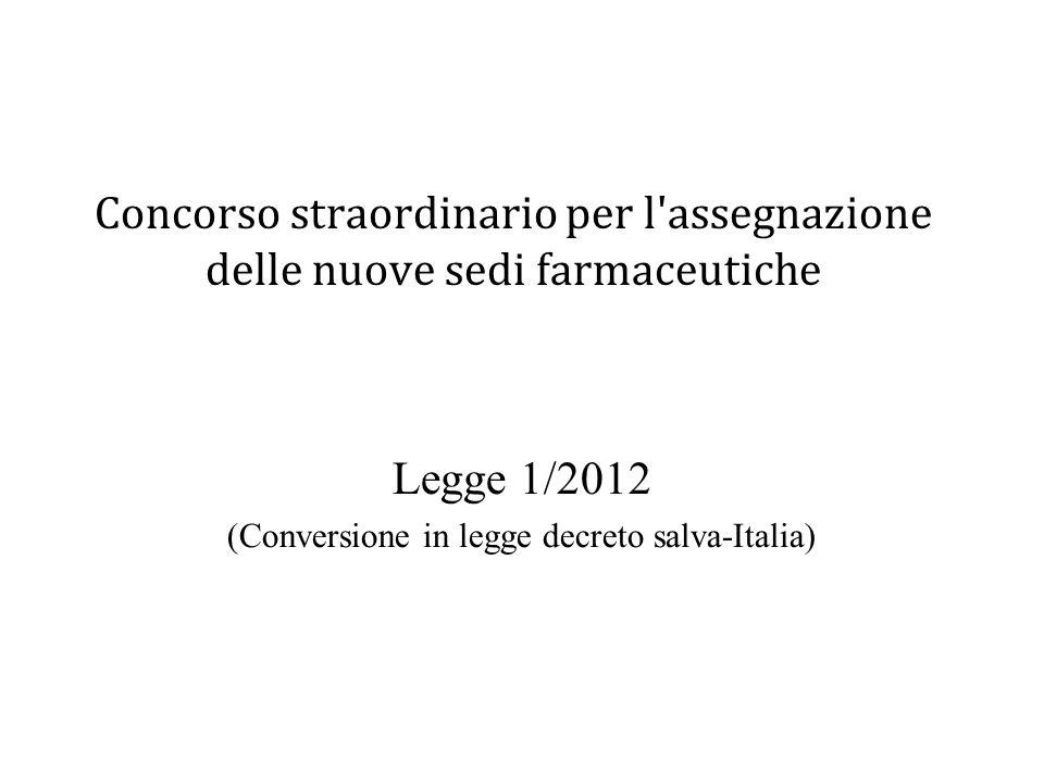 Concorso straordinario per l'assegnazione delle nuove sedi farmaceutiche Legge 1/2012 (Conversione in legge decreto salva-Italia)