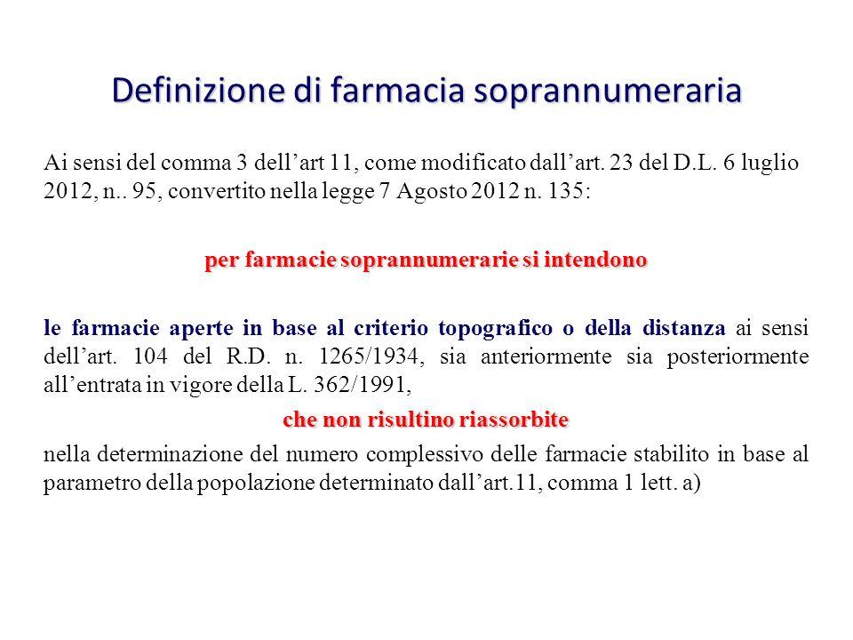 Definizione di farmacia soprannumeraria Ai sensi del comma 3 dellart 11, come modificato dallart. 23 del D.L. 6 luglio 2012, n.. 95, convertito nella